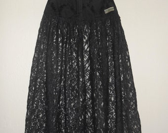 Vintage 1980s MADONNA by WAZOO black lace & silk brocade corset-waist midi skirt, size Small