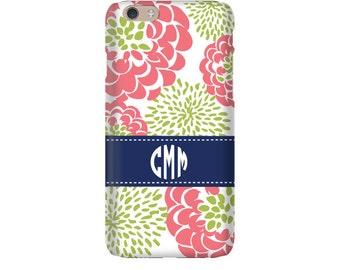 Monogram iPhone 7 Plus * 7 * 6/6S Plus * 6/6S * SE premium coral peony phone case personalized with name or initials