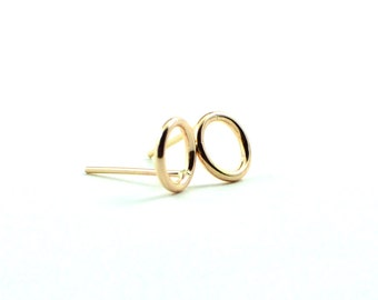 Gold circle stud earrings - simple gold studs - dainty gold earrings- open cicle studs - minimalist earrings - gift under 25