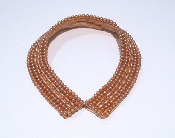 Pearl Collar Vintage Narrow Bib Collar Necklace 1940s 1950s Neckwear Accent Choker Faux Pearls with Satin Backing Fully Lined Bib Choker