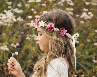 Flower Crown Tie Back - Newborn Baby Girl Toddler Adult Flower Girl Crown Tie Back - Great Photo Prop