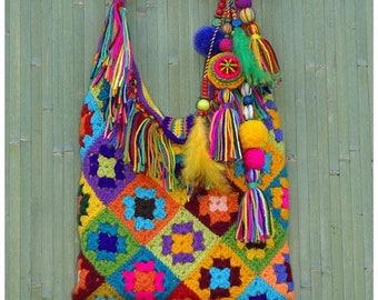 Boho bag, Gypsy bag, Hippie Festival Bag, Ethnic bag, Colorful, Multicolor, Crochet Granny Square, Hippie style, Fringe bag, pompon hanging