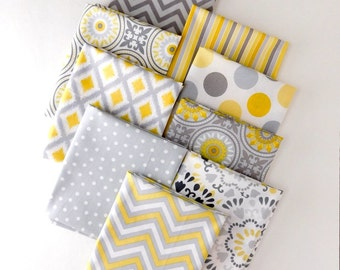 Yellow and Grey Bundle of 9 Fat Quarters, 100% cotton fabric for Quilting and general sewing projects.