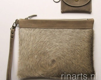 Cow hair clutch / leather zipper pouch / cow hair wristlet in beige and brown tones. OOAK clutch bag. Including a wallet