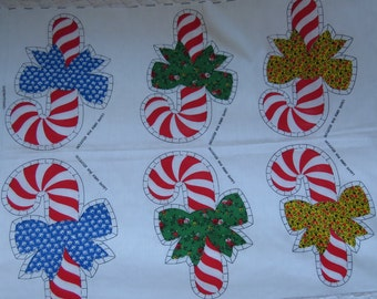Vintage Fabric Panel Christmas Candy Canes 6 Applique or 3 Ornaments