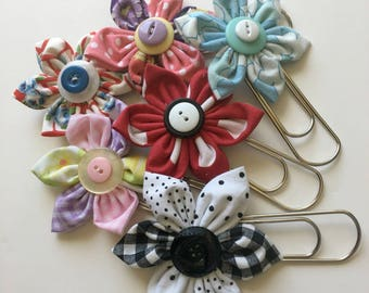 Large Fabric Flower Paper Clips for Planners, Cookbooks or Book Marks