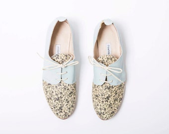 The Oxford Shoes | Mint Green Women's Leather Shoes | Floral Pattern Leather Flats | Women's size 8 / eu 39 | Limited Edition ... Mint