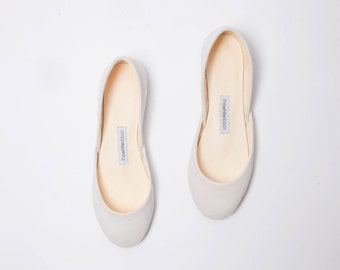 Beige Nubuck Ballet Flats | Women's Slip Ons | Ballerina Pumps | Wedding Shoes | Minimal Shoes | Beige Nubuck | Made to Order