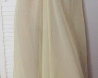 VTG  French Maid Sheer DOUBLE CHIFFON Robe Peignoir, Wide Collar M