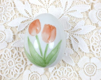 Handpainted Egg - Porcelain Egg, Easter Egg, Decorative Egg, Vintage Easter Egg, Paperweight, Collectible Egg, Artist Signed, c.1950s
