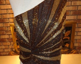 Vintage 90s Holiday Christmas Caché Silk, Gold and Copper Bugle Bead One Shoulder Halter Top