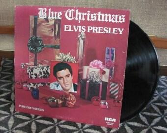 "Vintage 70's ""Blue Christmas Elvis Presley"" Vinyl Record Album - 1976 - 70's Christmas Record - Holiday Music - Christmas Carols"