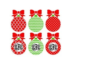 Christmas Ornament Chevron Polka Dot Quarter Foil SVG or Silhouette Instant Download