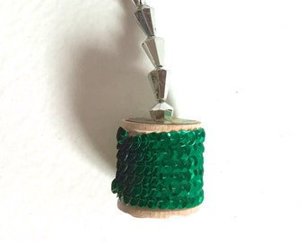 Christmas Ornament - Green Sequins on Vintage Wooden Spool