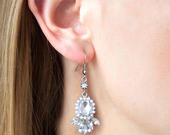 Bridal Earrings Wedding Earrings Dangle Earrings Wedding Jewelry Bridal Jewelry Pear and Round CZ Zirconia Drops