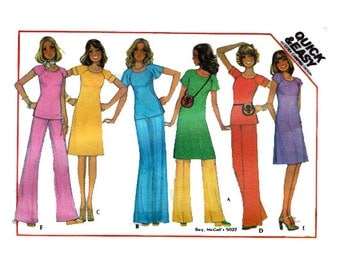 """Women's Dress Tunic Blouse Pants Sewing Pattern Fast & Easy for Beginners Elastic Waist Vintage 70s Size 14 Bust 36"""" (91 cm) McCall's 5086 S"""