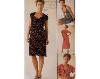 """90s Dress Sewing Pattern UNCUT Halter or Sweetheart or Deep V Neckline Size 14 16 18 Bust 36-40"""" (92-102 cm) McCall's 9338 S"""