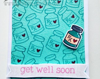 Get Well Soon card | handmade card, ideal for cheering up sick friends, family, workmates