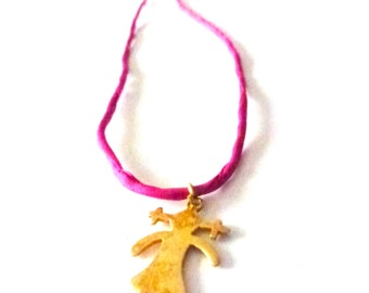 golden girl pendant necklace pink silk cord necklace
