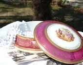 Vintage French Large Limoges Porcelain Trinket Box - Limoges Fragonard - Jewelry Box - Courting Couple Romantic Scene - Jewelry Dish