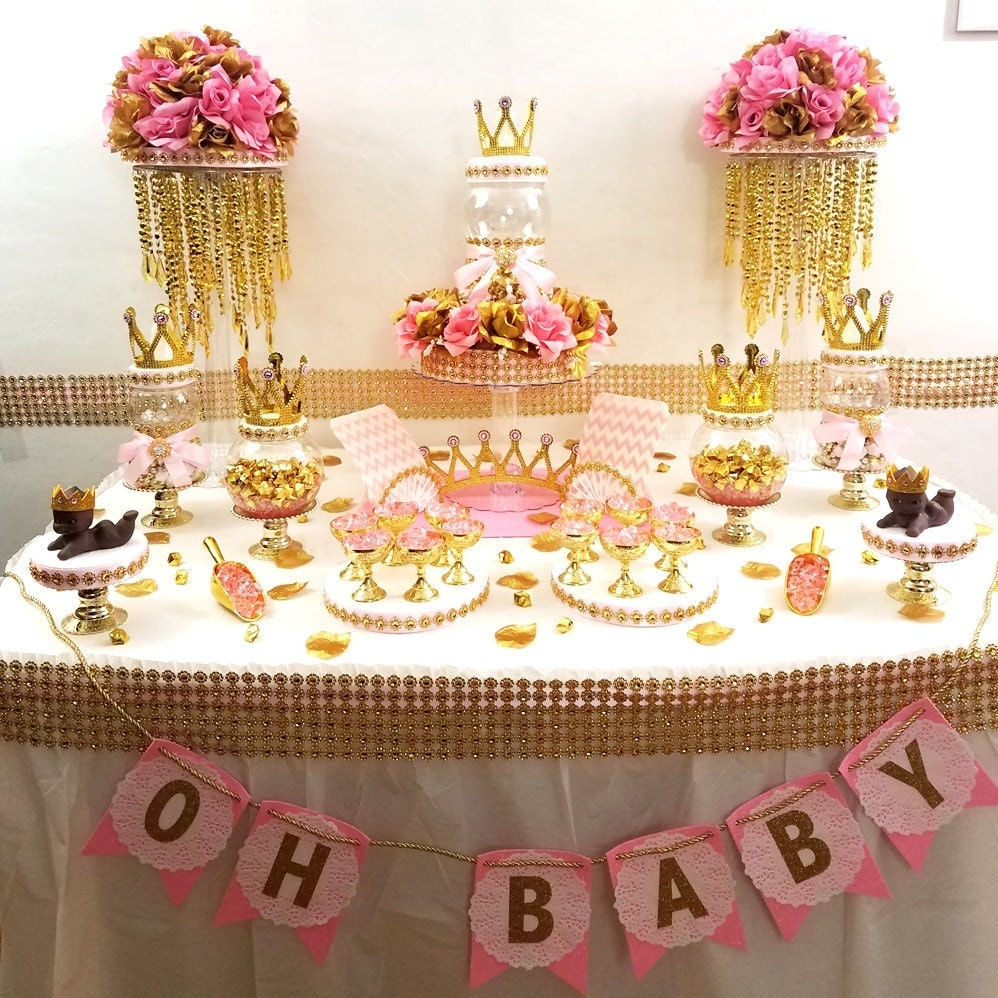 Princess baby shower candy buffet centerpiece with baby shower - Pink baby shower table decorations ...