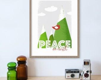 Peace on Earth, Christmas Robin, Mountain Art, Holiday Decor, Christmas Wall Art, Christmas Home Decor, Red Robin, Christmas Gifts