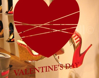 Valentines Day Decorative Glass Shop Window Display, Removable Stickers Australian Made