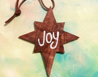 Walnut Ornament, Joy Inlaid with Mother of Pearl Handmade Woodwork