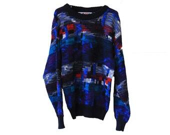 Vintage 80s Colorful Kids Sweater Size Medium 12-14 Michael Gerald Ltd