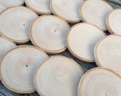 12 White Birch Wood Rounds, 2.75 to 3 inch Wood Rounds, Sanded Ornament Slices