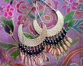 Large Exotic Boho Gypsy Hoop Earrings, Huge Gold Hammered Brass Half Moon Chandelier, African, Ethnic, Wood, Color Choices!