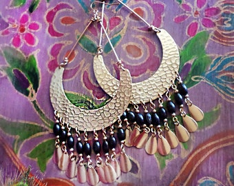 Large Exotic Boho Gypsy Hoop Earrings, Huge Gold Hammered Brass Half Moon Chandelier, African, Ethnic, Wood, Black, Brown, Color Choices!
