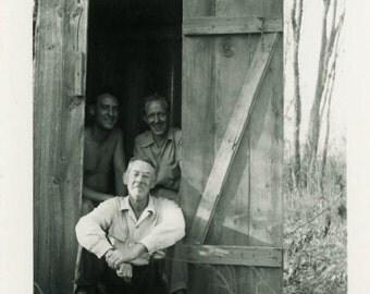 "Vintage Photo ""Outhouse Traffic Jam"" Funny Men Man Snapshot Antique Photo Old Black & White Photograph Found Paper Ephemera Vernacular - 93"
