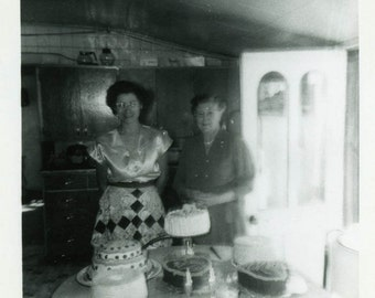 "Vintage Photo ""Welcome to the Birthday Table"" Snapshot Antique Photo Old Black & White Photograph Found Paper Ephemera Vernacular - 40"