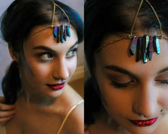aura quartz / crystal crown / headchain / headpiece