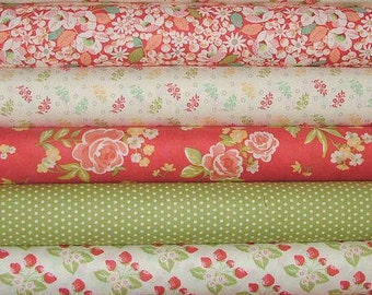 LAST ONE Strawberry Fields Revisited Fat Quarter Bundle of 5 by Joanna Figueroa of Fig Tree for Moda