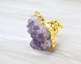 Amethyst Ring, Raw Crystal Ring, Purple Quartz Ring, Stone Ring, Bohemian Jewelry
