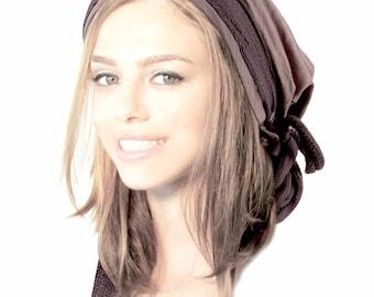 Taupe Head Scarf Boho Chic Pre Tied Bandana Tichel Hair Snood Chemo Head Scarf Hat Like Hair Bun Bow Braid Buckle ShariRose - 400
