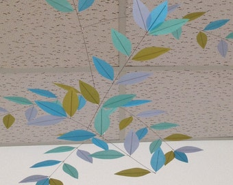 Handmade Leaf Mobile Cloudbusting Turquoise Tree Leaves Aerial Sculpture