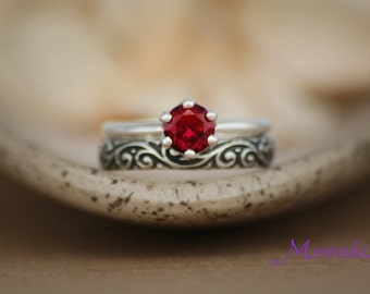 Round Ruby Crown Mount Engagement Set with Pattern Band in Sterling - Silver Fitted Wedding Ring Set - Ruby Anniversary Promise Ring Set
