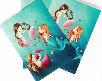MERMAIDS POSTCARD - Children's Wall Art Print - Kids Decor - Wall Art Illustration - Girl's nursery - mermaids decor - 4.1 x 5.8 in
