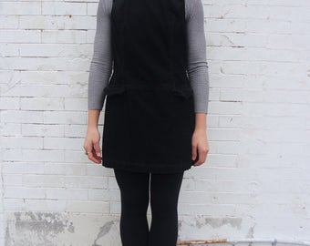 Vintage 90s Black Corduroy Minimalist Jumper Pinafore Dress- Size S / M