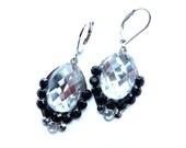 Clear Black Earrings, Oval Clear Earrings, Resin Oval Earrings, Small Oval Earrings, Oval Earrings, Clear Earrings, Black Clear Earrings,