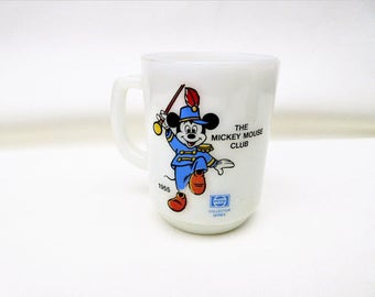 Vintage Mickey Mouse Mug | Mickey Mouse Cup | 1950s Disney Mug | Anchor Hocking Glass