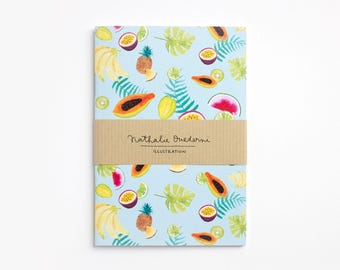 Small notebook, fruit notebook, pocket notebook, summer fruits, fruit journal, fruit pattern notebook, tropical fruit