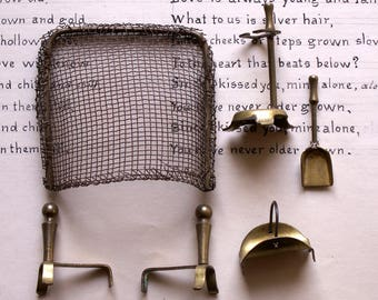 Vintage Doll House Fireplace Screen and Tools