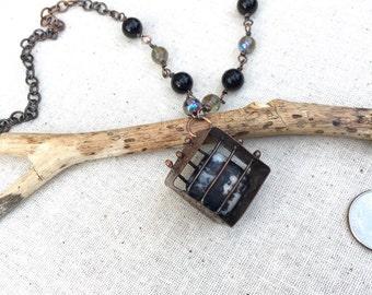 Cube pendant Copper necklace,Agate stone pendant,beaded chain necklace,cage stone pendant,handmade copper necklace, OOAK boho necklace