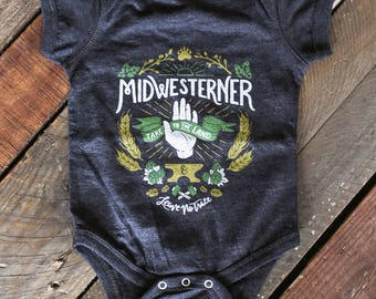 Leave No Trace Midwesterner Black Infant bodysuit. Grey Black Baby onesie. Celebrates the Midwest, workers, outdoors, hops. New baby gift.