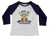 Birthday Bus Party Shirt - Custom Birthday Shirts - Use Your Name and Number - Distressed Yellow Bus - Raglan Sleeves - Personalized 2nd