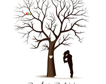PDF Wedding Tree Guest Book - Fingerprint -  PDF FIle - any size